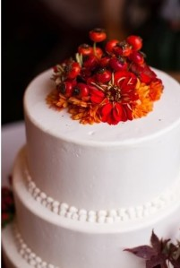 Autumn wedding cake barn reception