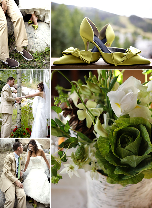 brown green wedding colorado
