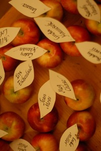 autumn wedding apple place cards