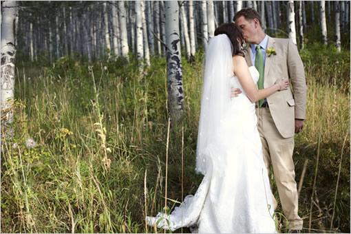 Brown and Green Wedding in an Alpine Forest | Backyard Huppah