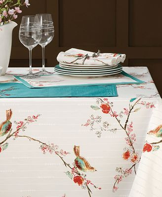 bird fabric table cloth