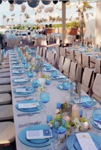 blue and white wedding decor | Backyard Huppah
