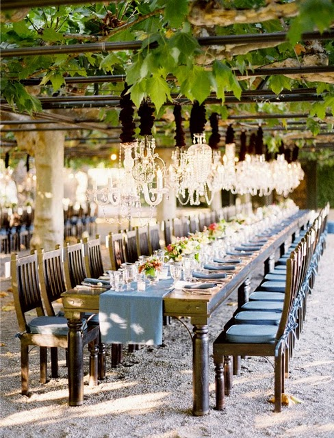 Light blue wedding long tablescape