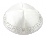 loops white satin kippah
