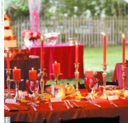 orange candlestick wedding table decor