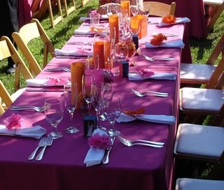 purple and orange table decorations