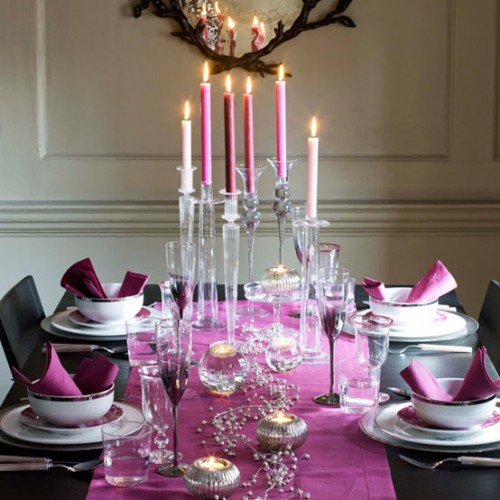 purple candle table decorations