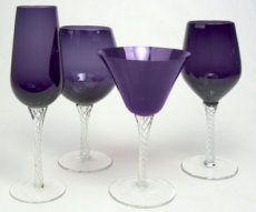 purple wedding decor stemware rentals