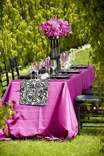 Out Table Runner on Backyard Tablescapes table #7:   purple a wedding  a Roll runner Huppah Budget