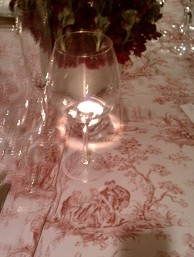 toile tablecloth detail