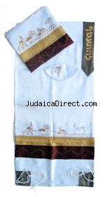 Jerusalem tallit brown