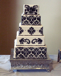 Black and white baroque wedding cake