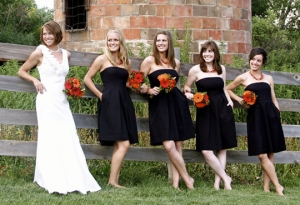 black and white wedding red orange flowers