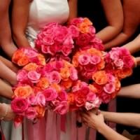 Fiftyflowers.com orange and fuschia flower bouquets
