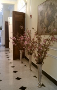 pink cherry blossom branch centerpieces