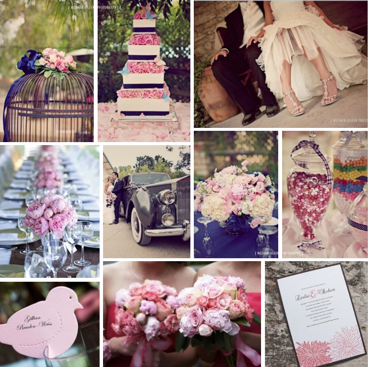 Wedding inspiration board pink rose and midnight blue