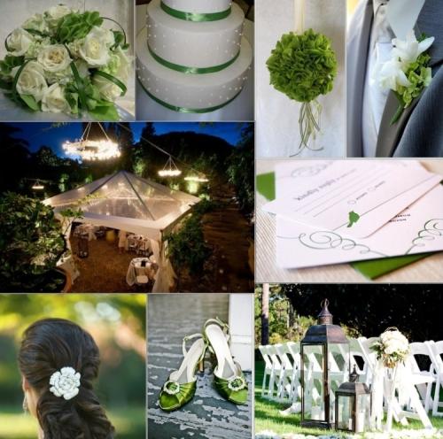 Green backyard wedding inspiration board