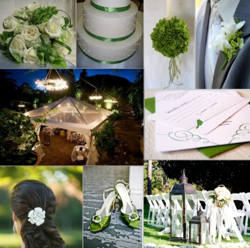 Green backyard wedding inspiration board