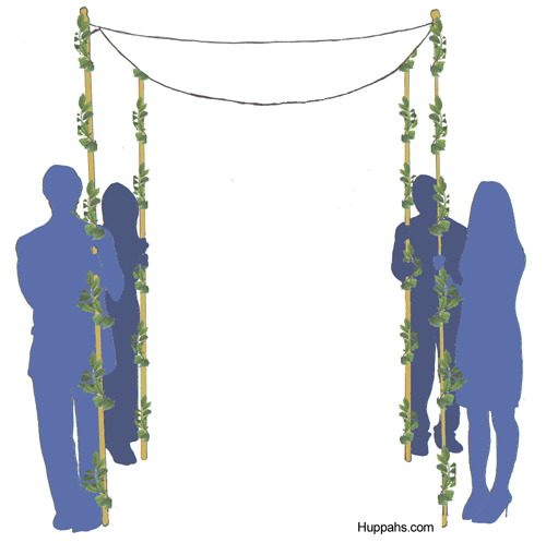 Huppah garland wrapped around poles