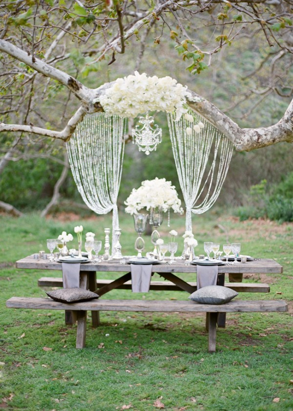 This glamorous backyard wedding tableau was designed by Southern