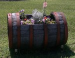 Kesem Winery wine barrel wildflowers