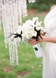 wedding bouquet with crystals and emerald