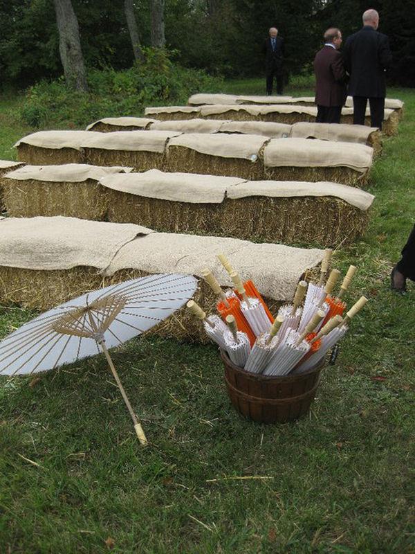 Country Backyard Wedding Ideas rustic succulent boxes Hay Bale Wedding Seating Michigan Backyard Wedding