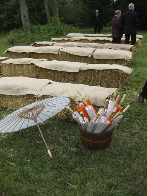 hay bale wedding seating michigan backyard wedding