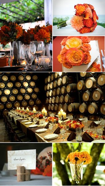 orange wine fall wedding decor