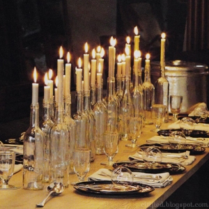 wine bottle candle holder tablescape