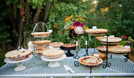 rustic mountain wedding pie buffet