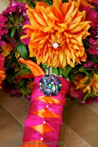 tangerine and pink wedding decor