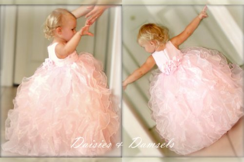 Pink organza flower girls dress toddler girl