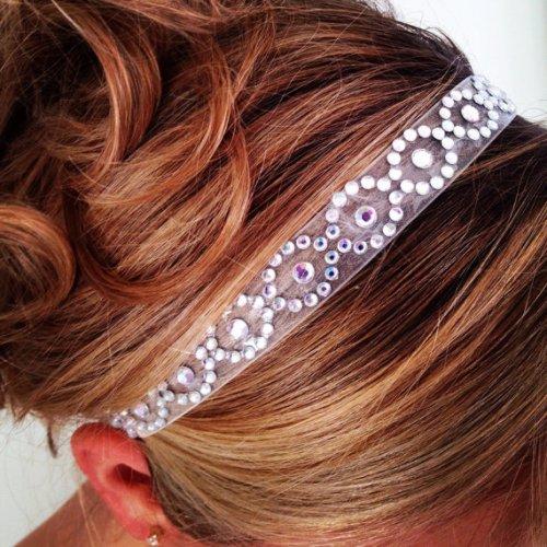organza bridal headband rhinestones