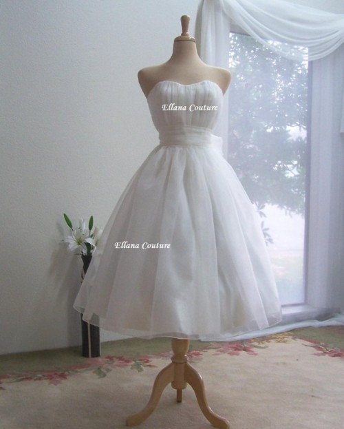 Organza Tea Length Wedding Dress