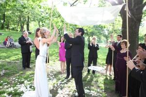 Jewish wedding New York park ivory silk chuppah