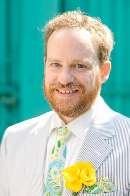 Groom seersucker suit yellow wedding flower
