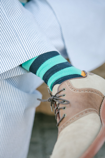 Groom striped socks wedding