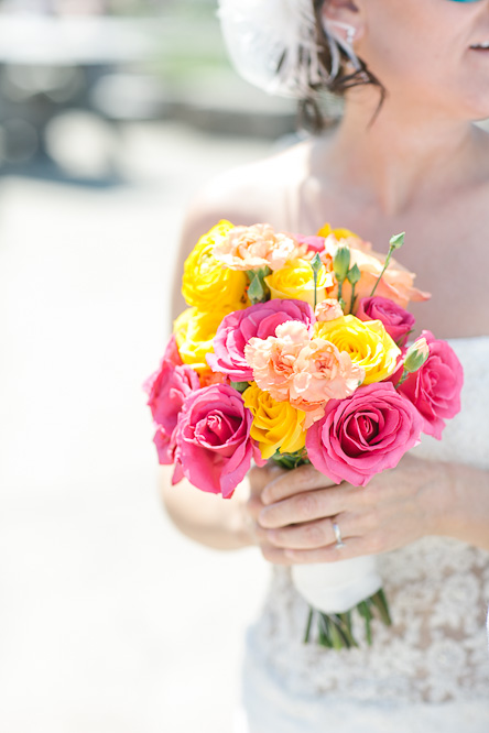 Pink orange yellow wedding flowers