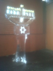 Menorah Ice Carving Hanukkiah
