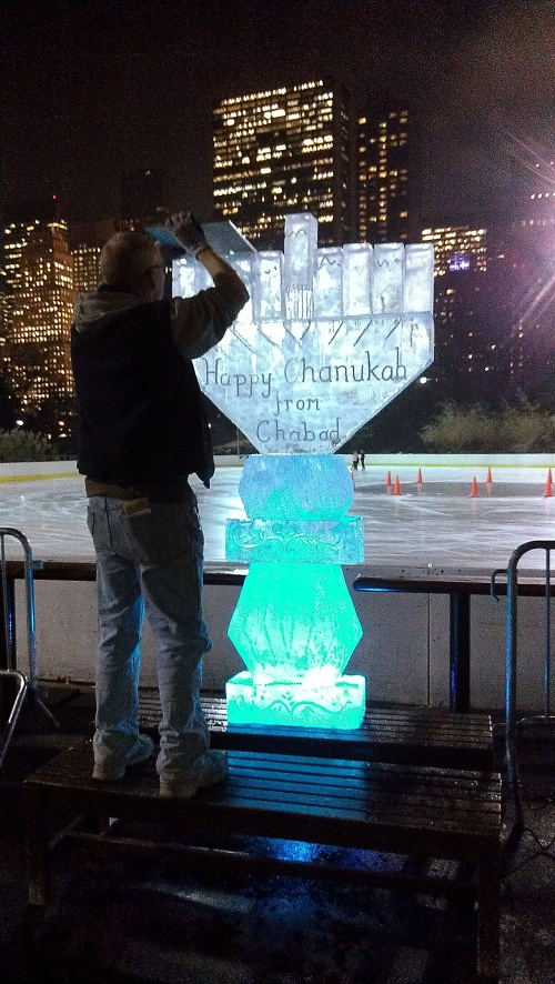Ice sculpture menorah