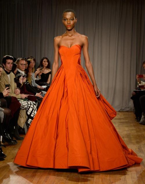 zac posen orange gown fall 2014 new york fashion week