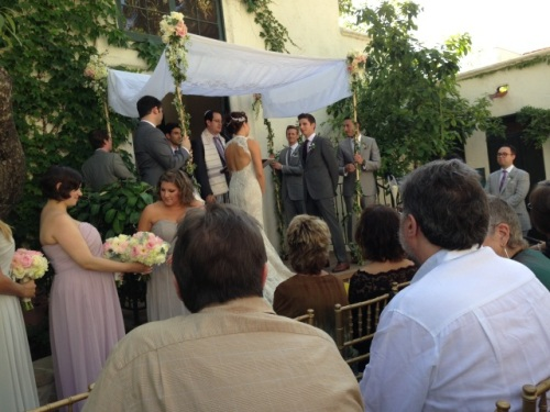 wedding chuppah from lace tablecloth